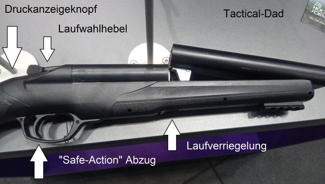 Die HDS68 ist eine durchdachte und vermutlich zuverlässig funktionierende Waffe für .68 Gummi- und Pfeffergeschosse. Das Foto entstand auf der IWA 2019.