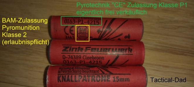"""Zink 15mm Knallpatronen (Starenschreck) mit ausländischer P1 Zulassung. In Deutschland bleiben sie als """"Munition"""" erlaubnispflich und es gilt die BAM-PMII Zulassung."""