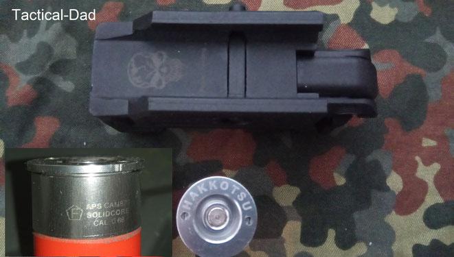 """Das """"F"""" im Fünfeck muss bei Airsoft Granatwerfern immer auf der Hülse aufgebracht werden, denn diese sind rechtlich die Schusswaffen. Die Werfer benötigen idR. kein F."""