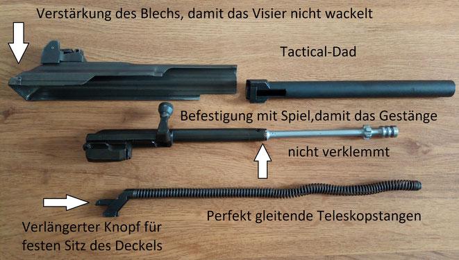 Das hinten auf dem verstärkten Systemdeckel angebrachte Visier erlaubt ein präzisieres Schießen, als mit anderen AK Varianten.