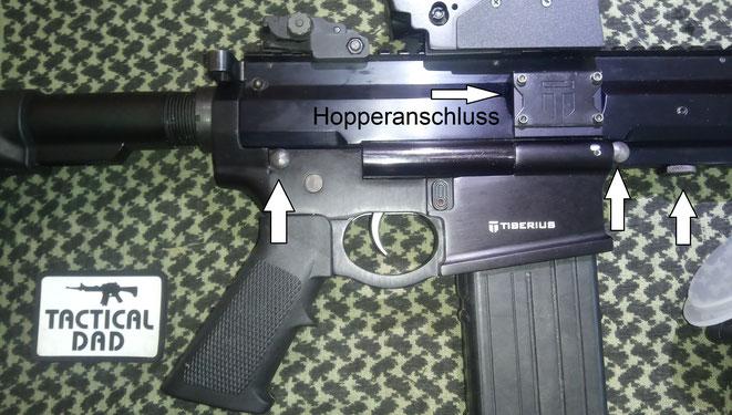 Wie bei allen echten AR15 auch, werden zum Zerlegen diese beiden Stiften raus gedrückt.