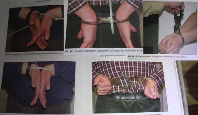 """Diverse (teilweise unkonventionelle) Fesseltechniken aus dem Buch """"Praktische Eigensicherung"""" vom VDP Verlag."""