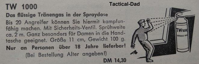 TW 1000 Tränengas im Kieferle Waffen Katalog von 1964. Es war damals eine sehr neue und moderne Waffe.
