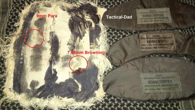 Versuchsaufbau einer selbst hergestellten ballistischen Platte aus zerlegten Splitterschutzwesten.