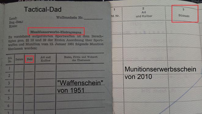 Immer wieder mal kam die Idee auf, dass Munitionskäufe registriert werden müssen. Die dafür vorgesehenen Spalten mussten dann aber doch meist nicht benutzt werden.