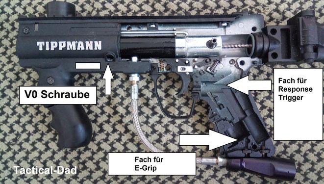 """Die Tippmann 98 Custom ist bereits ab Werk für einige Umbauten vorbereitet. Wer sie zum Paintball mit ins Ausland nimmt, kann dort Exportfedern, """"E-Grips"""" oder """"Response Trigger"""" einbauen."""