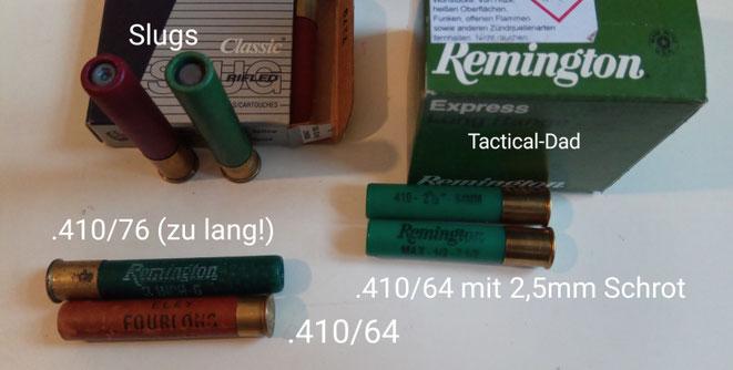 Das Patronenlager des Derringers ist nur für 2,5 Zoll (64mm) lange Patronen im Kaliber .410 geeignet.