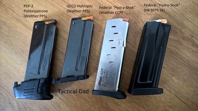 Fertig geladene Magazine für die Walther PPS, Walther CCP und die Heckler & Koch SFP9 SK.