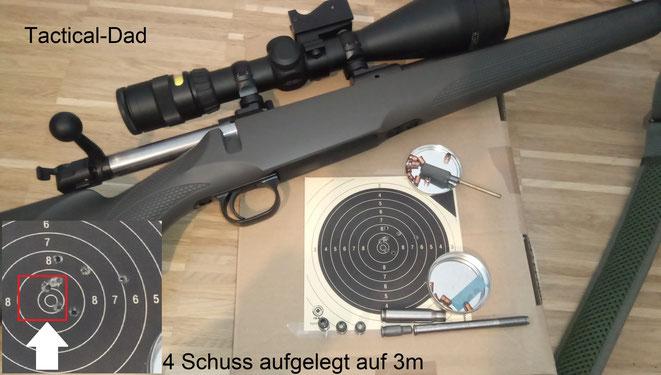 Mit dem 7,65mm Browning - 4mmM20 Einstecklauf in der .308 - 7,65mm Reduzierhülse konnte ich aus meiner Mauser M12 auf 10m stehend freihändig aber auch mal 3cm Streukreise schießen. Das ist eigentlich nicht schlecht.