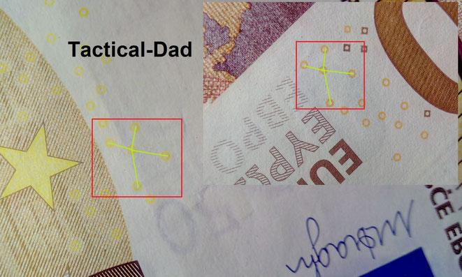 """Auf den Euro Banknoten ist das """"EURion"""", eine bestimmte Anordnung von kleinen Kreisen, die Kopierer und Scanner erkennen können."""