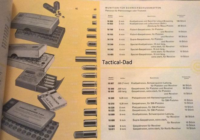 In dem Katalog findet man z.B. noch Platz- und Gaspatronen in 6,35mm, .320 oder die Korth Gaspatrone.