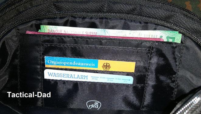 Der RFID-Schutz der Aldi Tasche funktioniert, im Gegensatz zu anderen Taschen, einwandfrei.