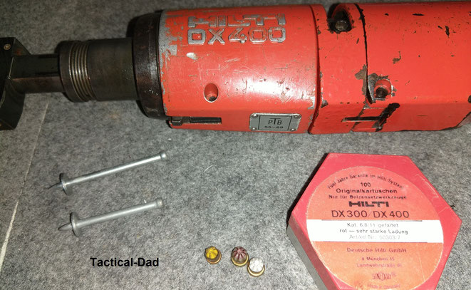 Das Hilti DX400 Bolzensetzgerät war weit verbreitet und wurde mit der PTB-Nummer 55-69 sehr früh zugelassen.