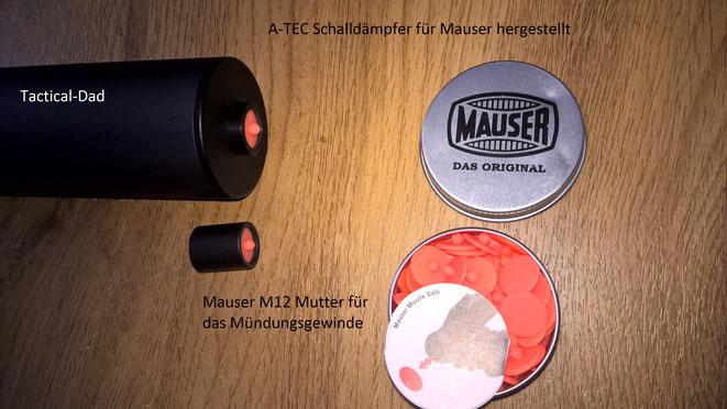 Die Mauser Verschlussstopfen passen in die Mündungsmutter der M12 und in den A-TEC Schalldämpfer der extra für Mauser gefertigt wird.