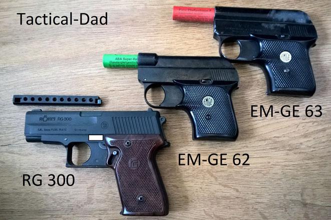 """Diese Schreckschusspistolen sind ebenfalls sehr gut für """"technische Zwecke"""" geeignet: Röhm RG 300, EM-GE 62 und EM-GE 63."""