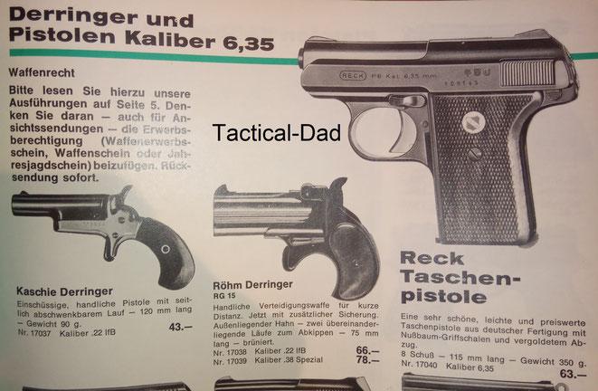Im Kettner Katalog von 1969 kostete die Reck P8 in 6,35mm Browning 63 Mark.
