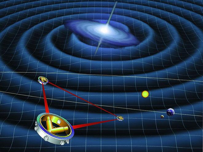LISAの想像図(宇宙重力波望遠鏡wikiより)