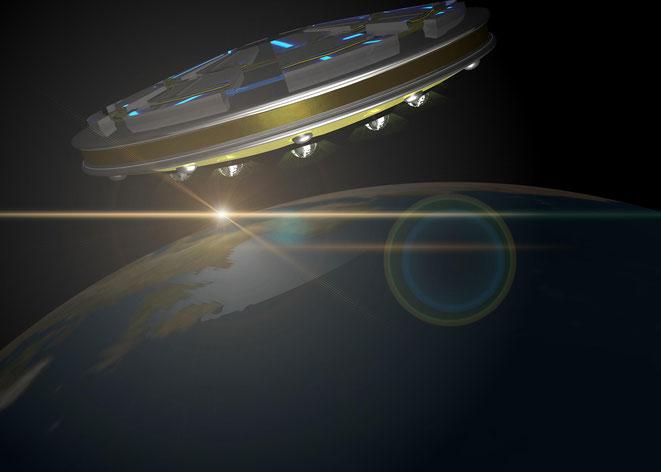 UFOと地球イメージ
