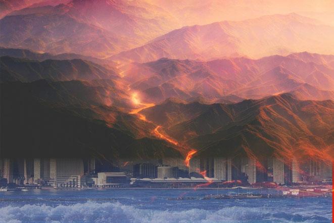 火山噴火と地震津波イメージ