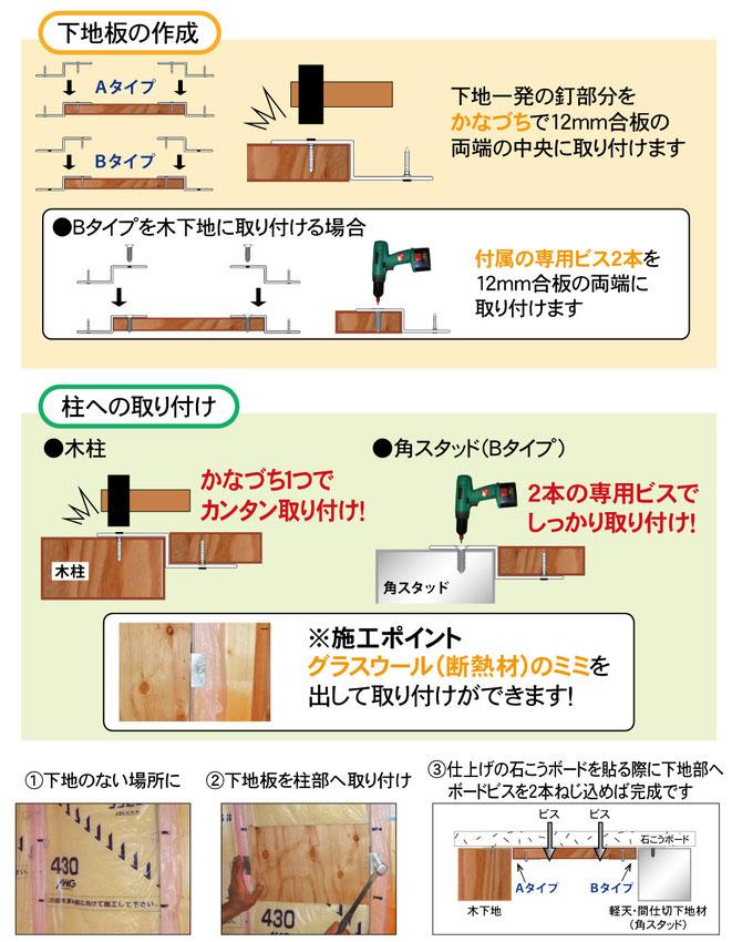 下地一発で施工すると、従来の施工より時短で正確に下地が作れます。下地板の作成、柱への取付方法。下地一発A 下地一発B 下地一発C