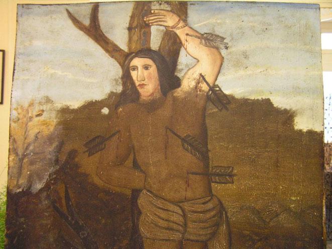 Saint Sébastien - nettoyage peinture sur cuivre
