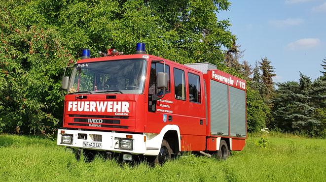 Unser Fahrzeug, ein LF8/6 (Löschgruppenfahrzeug, die 8/6 stehen für die Wasserförderleistung der Heckpumpe, sowie für die Größe des Wassertanks in Liter)