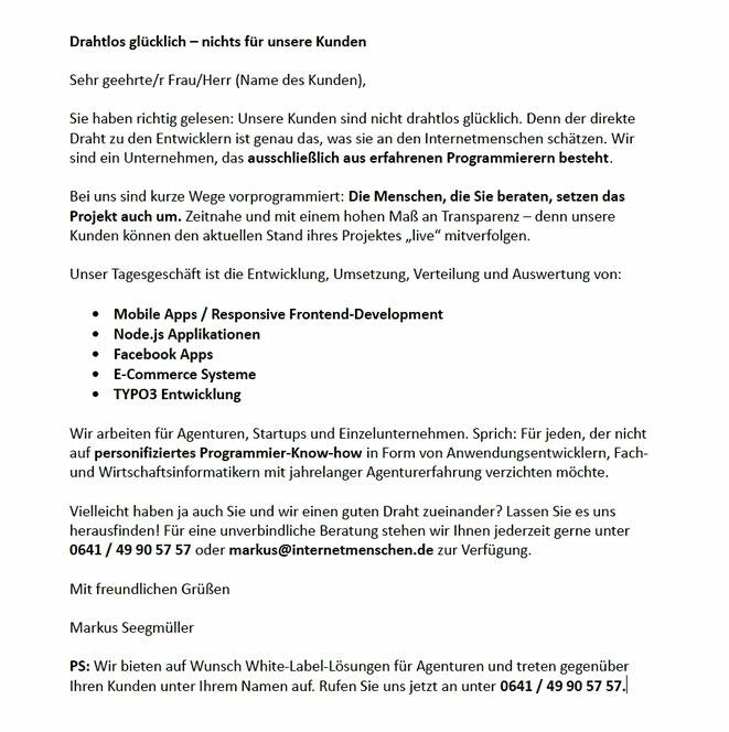 Werbebrief für Internetmenschen