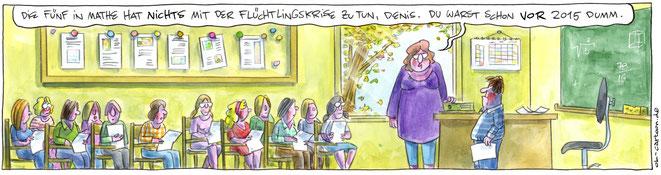 """""""Flüchtlingskrise"""" heißt der Jury-Favorit des Heinrich-Zille-Karikaturenpreises / Copyrights: OL"""