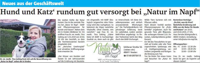 Münsterland Zeitung, Natur im Napf, Dr. Tina Gebing, neues aus der Geschäftswelt, BARF Vreden, BARF Münsterland, BARF in der Nähe
