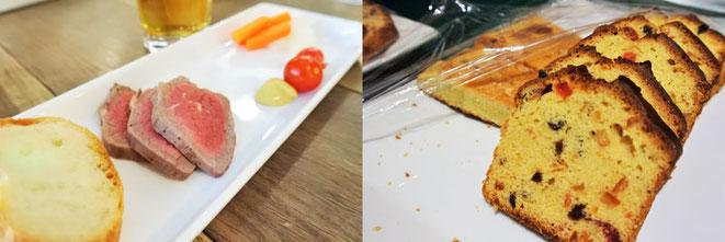 ローストビーフとピクルスは館さん、パウンドケーキは伊澤さんの手作り!