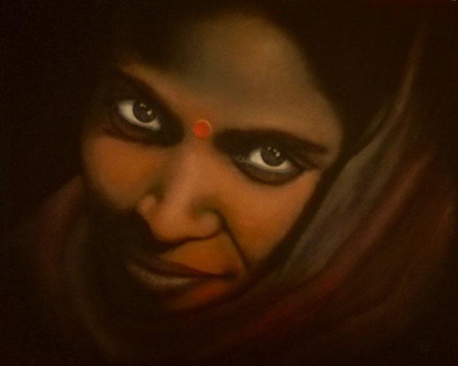 Die schöne Inderin..., 100x80cm