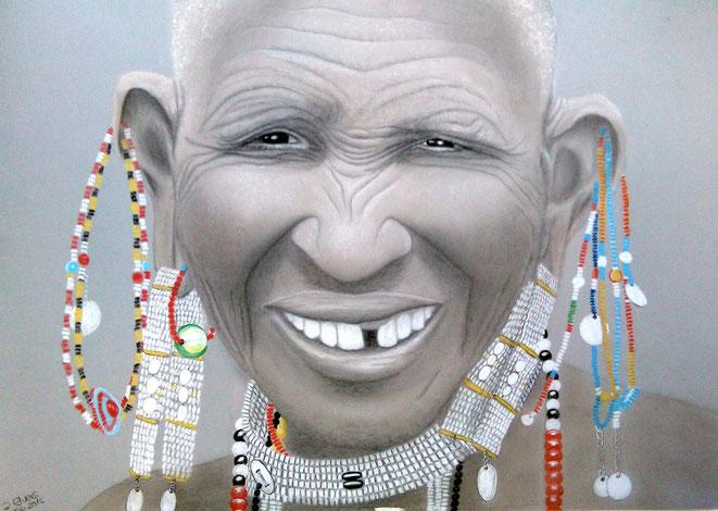 Alter Massai..., 70x50cm, Farbstifte, Kreide auf Zeichenkarton