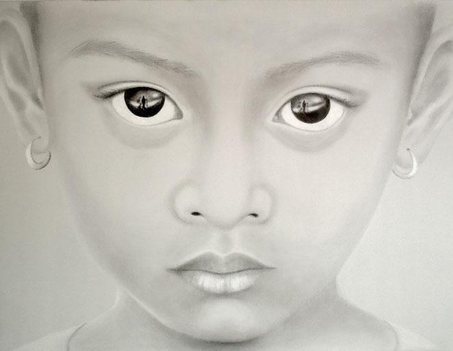 Kinderaugen Asien,  90x60 cm, Farbstifte auf Leinwand