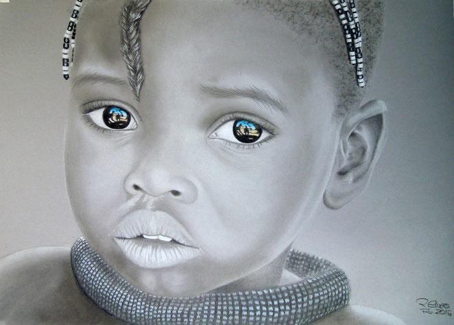 Afrika-Mädchen, 70x50cm, Farbstifte, Kreide auf Zeichenkarton