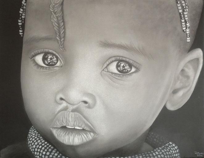 Kinderaugen Afrika  90x60 cm, Farbstifte auf Leinwand