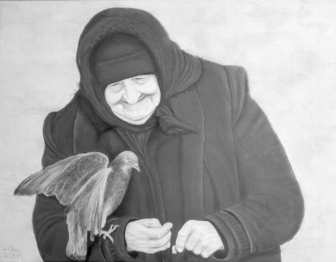Die Taubenfrau, 100x80cm