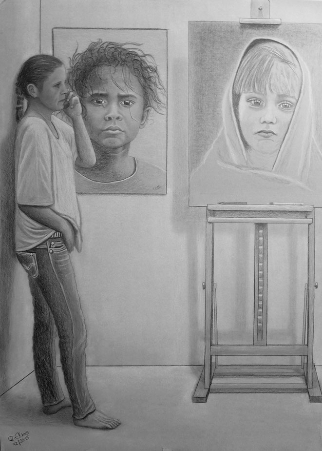 Im Atelier..., 70x50 cm, Farbstifte auf Zeichenkarton, Dez. 2015