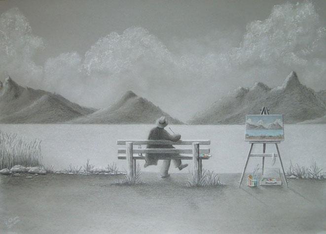 Der Maler am See..., 70x50 cm, Farbstifte, Kohle, Kreide auf Zeichenkarton, Jan. 2016