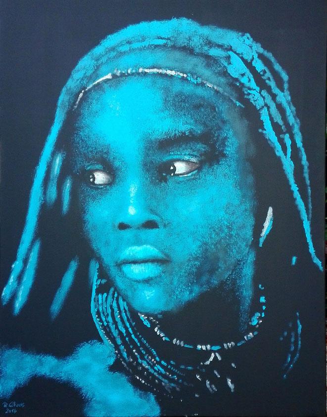 Himbamädchen in blau..., 90x70cm