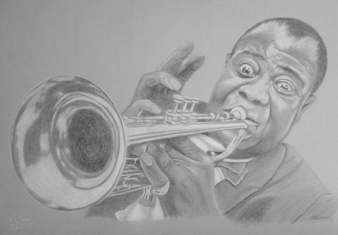 Der Mann mit der Trompete, 100x70cm