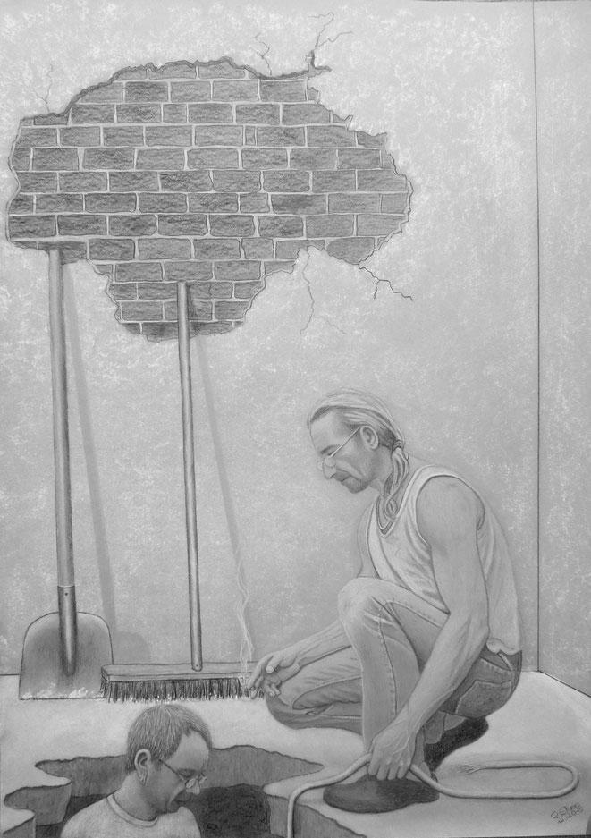 Die Baustelle..., 70x50cm, Farbstifte auf Zeichenkarton, Dez. 2015