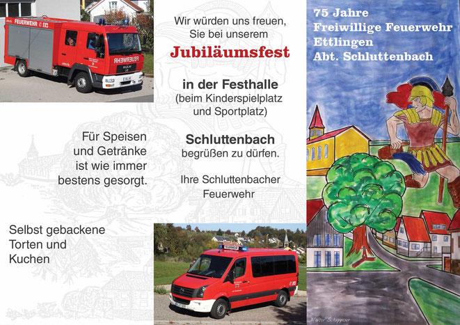 Programm 75-jähriges Jubiläum Freiwillige Feuerwehr Ettlingen Abteilung Schluttenbach