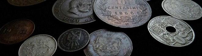Kleinmünzen aus Hessen-Darmstadt, Rumänien, Italien, Spanien, Finnland, Portugal und weiteren Ländern