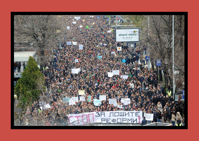 "A massive number of students, young people and other supporters were out on the streets to protest the proposed reform. A banner ahead reads ""Stop the bad reforms"", photo credit: Robert Atanasovski"