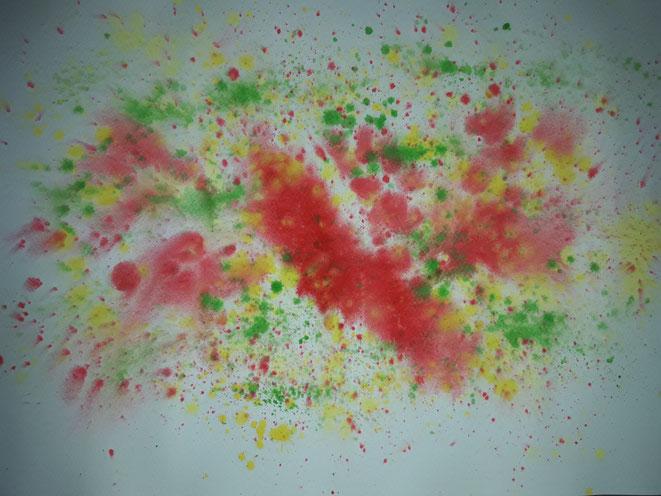 Kunst, Aquarell, Mario Vetter, abstrakt, Klekse, rot, grün, gelb