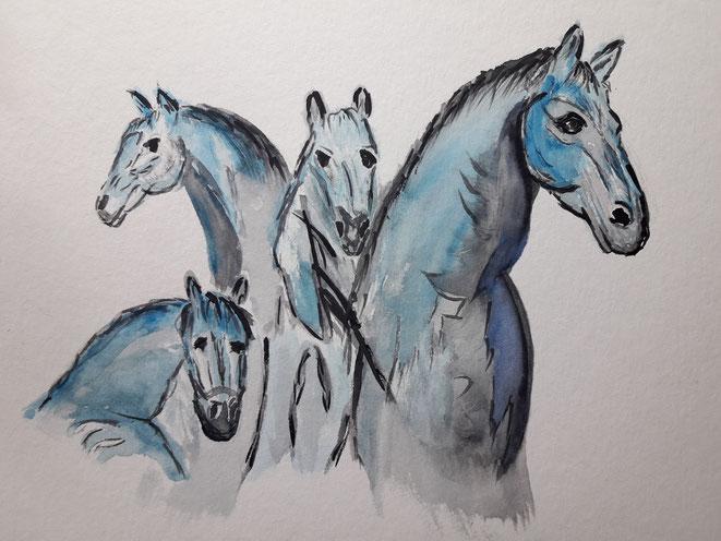 Kunst, Aquarell, Mario Vetter, Pferde, blau