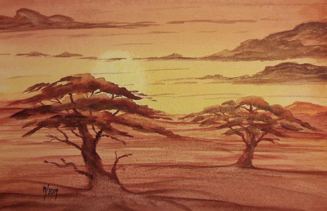Kunst, Aquarell, Mario Vetter, Wüste, Savanne, Sonnenuntergang, orange, braun