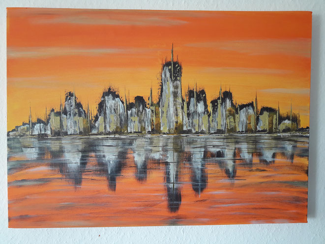 Mario Vetter, Kunst, Acryl, abstrakt, Acrylmalerei, mv-aquarts, orange, Skyline