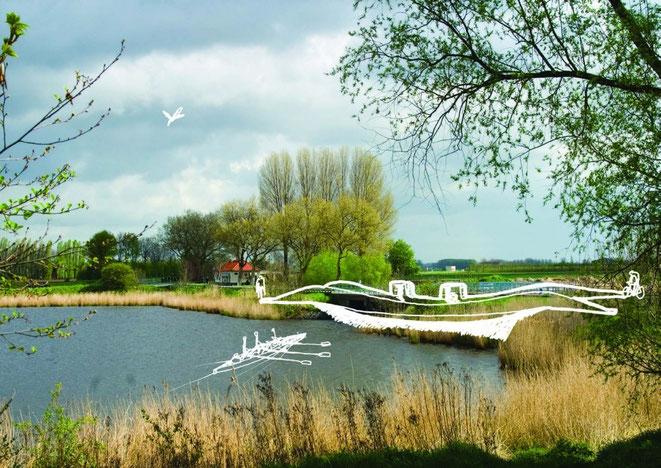 Artistieke weergave van biobased composietbrug in omgeving. Door RO&AD Architecten.