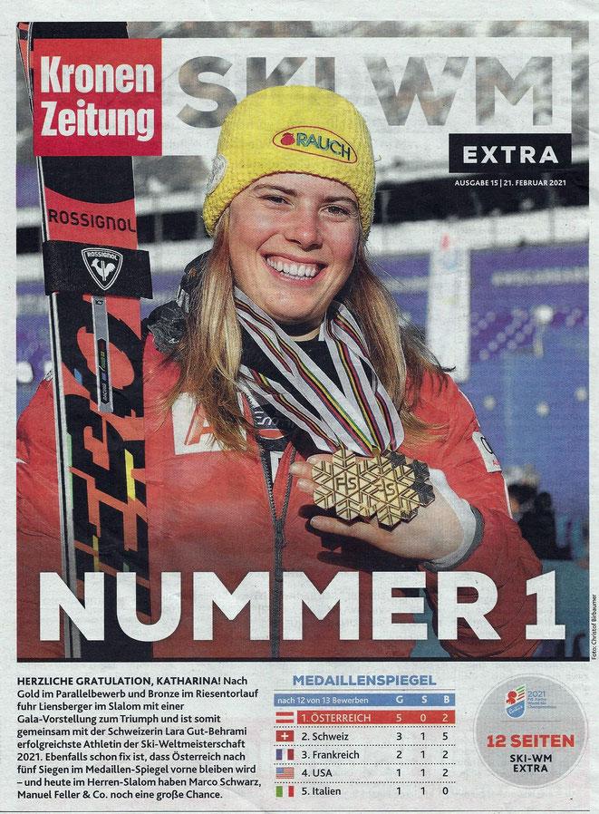 Katharina Liensberger - Gold im Parallelbewerb, Bronze im RTL, Gold im Slalom - Foto Kronenzeitung
